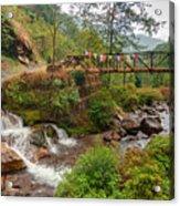 Water Flowing Through Rocks Kukhola Falls Sikkim Acrylic Print