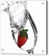 Water Glass Strawberry Acrylic Print