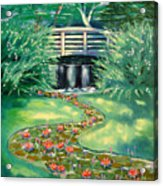 Water Lilies Bridge Acrylic Print