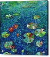 Water Lily Lotus Lily Pads Paintings Acrylic Print