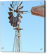 Water Pump Windmill On Blue Sky Background Acrylic Print