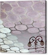 Water Reflection Of Garden Lamps At The Akshardham Temple, Jaipur  Acrylic Print