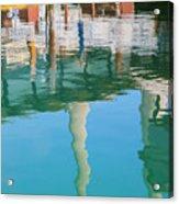 Water Reflections Of Morro Bay  Dock Acrylic Print