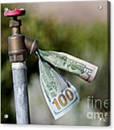 Water Spigot With Money Flowing Out Acrylic Print