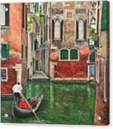 Water Taxi On Venice Side Canal Acrylic Print