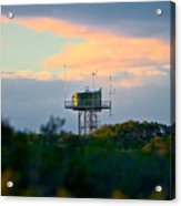 Water Tower In Orange Sunset Acrylic Print