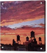 Water Towers At Sunset No. 4 Acrylic Print