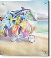 Water Toy Vendor On Teh Beaches Of Santiago Bay, Manzanillo Acrylic Print