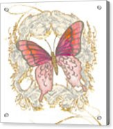 Watercolor Butterfly With Vintage Swirl Scroll Flourishes Acrylic Print