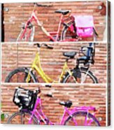 Watercolor Collage Of Three Bicycles In Triptych Acrylic Print