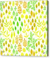 Watercolor Doodle Leaves Pattern White  Acrylic Print