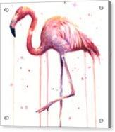 Watercolor Flamingo Acrylic Print