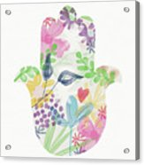 Watercolor Garden Hamsa- Art By Linda Woods Acrylic Print