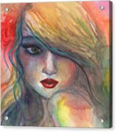 Watercolor Girl Portrait With Flower Acrylic Print