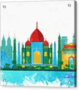 Watercolor Illustration Of Delhi Acrylic Print