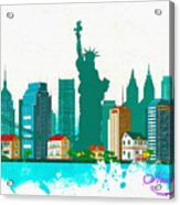 Watercolor Illustration Of New York Acrylic Print