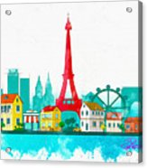 Watercolor Illustration Of Paris Acrylic Print