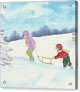 Watercolor Illustration Showing Two Children Pulling Sledge Uphi Acrylic Print