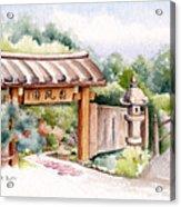 Watercolor Japanese Garden Gate Acrylic Print