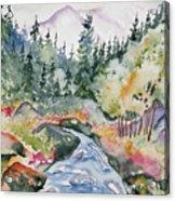 Watercolor - Long's Peak Autumn Landscape Acrylic Print