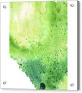 Watercolor Map Of Alberta, Canada In Green  Acrylic Print