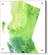 Watercolor Map Of British Columbia, Canada In Green  Acrylic Print
