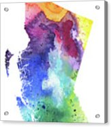 Watercolor Map Of British Columbia, Canada In Rainbow Colors  Acrylic Print
