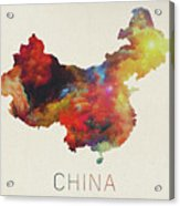 Watercolor Map Of China Acrylic Print