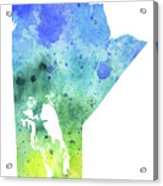 Watercolor Map Of Manitoba, Canada In Blue And Green  Acrylic Print
