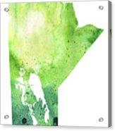 Watercolor Map Of Manitoba, Canada In Green Acrylic Print