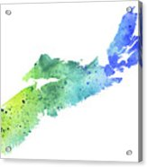 Watercolor Map Of Nova Scotia, Canada In Blue And Green  Acrylic Print