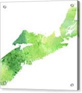 Watercolor Map Of Nova Scotia, Canada In Green  Acrylic Print