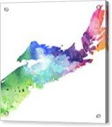 Watercolor Map Of Nova Scotia, Canada In Rainbow Colors  Acrylic Print