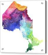 Watercolor Map Of Ontario, Canada In Rainbow Colors  Acrylic Print