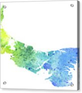 Watercolor Map Of Prince Edward Island, Canada In Blue And Green  Acrylic Print