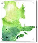 Watercolor Map Of Quebec, Canada In Green  Acrylic Print