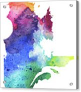 Watercolor Map Of Quebec, Canada In Rainbow Colors  Acrylic Print
