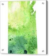 Watercolor Map Of Saskatchewan, Canada In Green Acrylic Print