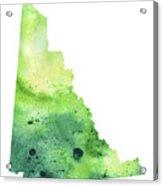 Watercolor Map Of Yukon, Canada In Green Acrylic Print