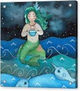 Watercolor Mermaid Feeding Her Narwhals Acrylic Print