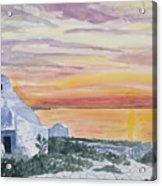 Watercolor - Mykonos Sunset Acrylic Print