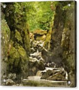 Watercolor Painting Of Beautiful Ethereal Landscape Of Deep Sided Gorge With Rock Walls And Stream F Acrylic Print