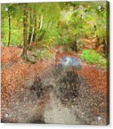 Watercolor Painting Of Beautiful Landscape Image Of Forest Covered In Autumn Fall Color Contrasting  Acrylic Print