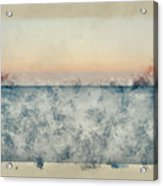 Watercolor Painting Of Beautiful Seascape Image Of Calm Ocean At Sunset Acrylic Print