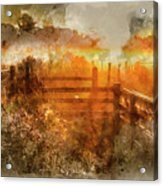 Watercolor Painting Of Beautiful Sunrise Landscape Over Foggy English Countryside With Glowing Sun Acrylic Print