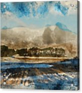 Watercolor Painting Of Fresh Winter Landscape Of Mountain Range And Forest Covered In Snow Acrylic Print