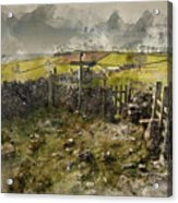 Watercolor Painting Of Public Footpath Signposts In Landscape In Acrylic Print