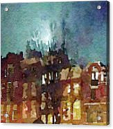 Watercolor Painting Of Spooky Houses At Night Acrylic Print