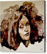 Watercolor Portrait Of A Woman With Bad Hair Day Acrylic Print