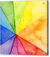 Watercolor Rainbow Beachball Pattern Acrylic Print